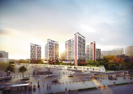 주변 아파트 시세의 절반 수준에 공급 중인 한강 광장 조감도. 공급가가 저렴한 데다, 주변에 개발호재가 많아 실수요자는 물론 투자자의 관심을 끈다.