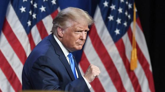 도널드 트럼프 대통령은 24 일 (현지 시간) 미국 공화당 전당 대회에서 연설하고있다.[UPI=연합뉴스]