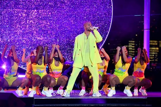NEW YORK, NEW YORK - AUGUST 30: Maluma performs during the 2020 MTV Video Music Awards at the Skyline Drive-In, broadcast on Sunday, August 30, 2020 in New York City. (Photo by Jeff Kravitz/MTV VMAs 2020/Getty Images for MTV)