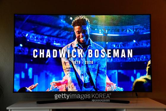 NEW YORK, NY - AUGUST 30: In this photo illustration, an In Memoriam for Chadwick Boseman, viewed on a laptop, is seen during the 2020 MTV Video Music Awards broadcast on August 30, 2020 in New York City. (Photo Illustration by Frazer Harrison/Getty Images)
