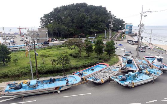 제9호 태풍 '마이삭'이 북상 중인 31일 부산 해운대구 송정항에 있는 어선이 도로 위로 옮겨져 있다. 연합뉴스
