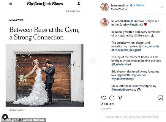 미국에서 한 남성이 신문에 결혼기사를 냈다가 전처에게 역풍을 맞았다. 문제가 된 뉴욕타임스 기사. [인스타그램]