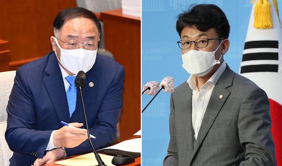홍남기 경제부총리(왼쪽)과 진성준 더불어민주당 의원. 뉴스1