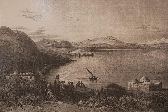 갈릴리 호수의 옛날 모습을 그린 작품. 호숫가에 유대교 회당이 보인다. 지금은 티베이라스를 중심으로 많은 호텔과 팬션이 들어서 있다. [중앙포토]