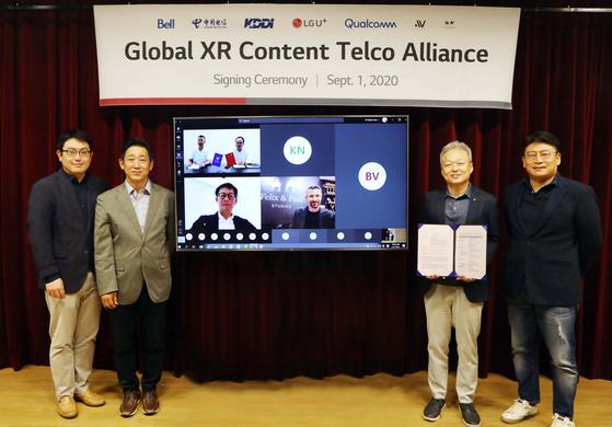 LG유플러스가 1일 미국·캐나다·중국·일본·프랑스 등 해외 기업과 함께 5G 실감형 콘텐트를 공동 투자·제작하는 동맹체 XR 얼라이언스를 결성해 출범했다. [LG유플러스 제공]