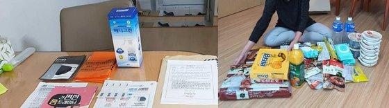 차명진 전 의원(왼쪽)이 공개한 처의 자가격리자 지원 물품. 오른쪽은 이낙연 더불어민주당 대표가 공개한 자가격리자 식료품 키트. 사진 페이스북