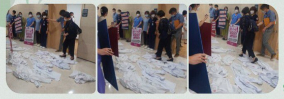 계명대 동산병원 현장조사를 나온 복지부 공무원(뒷모습 보이는 이)이 의사 가운 사이를 지나고 있다. 사진 영상 제보자