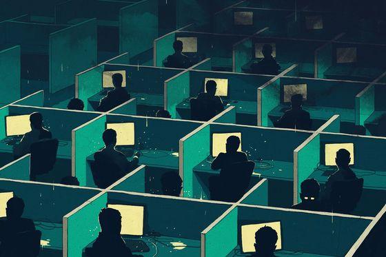 북한 해커들을 표현한 그래픽 이미지. [블룸버그 비즈니스위크 캡처]