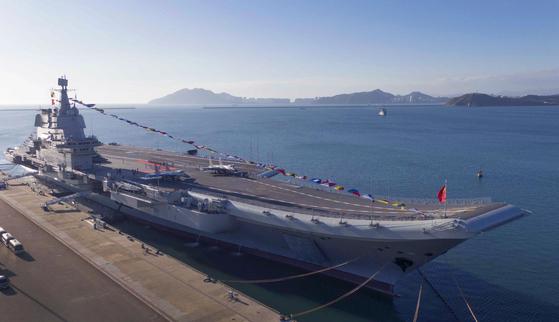 지난 1일부터 보하이해에서 훈련하고 있는 중국의 두번째 항공모함 산둥함. [신화통신]