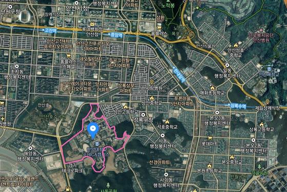 카카오 데이터센터가 들어가는 경기도 안산시 상록구 사동 1271 한양대학교 캠퍼스혁신파크 위성지도. [사진 카카오맵 캡처]