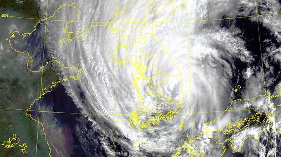 기상청 천리안2A호 위성으로 본 태풍 하이선의 모습. 기상청