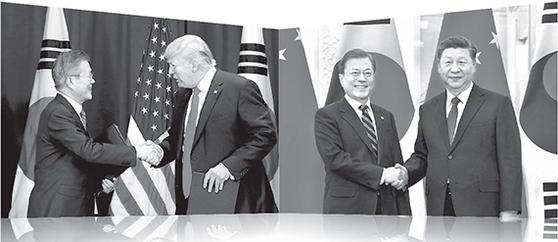 미·중 경쟁이 격화하며 한국을 자기편으로 끌어들이려는 압력도 커지고 있다. 2018년 9월 뉴욕에서 열린 한·미 FTA 서명식에서 만난 문재인 대통령과 트럼프 대통령(왼쪽 사진). 지난해 12월 중국 베이징 인민대회당에서 만난 문 대통령과 시진핑 주석. [뉴스1]
