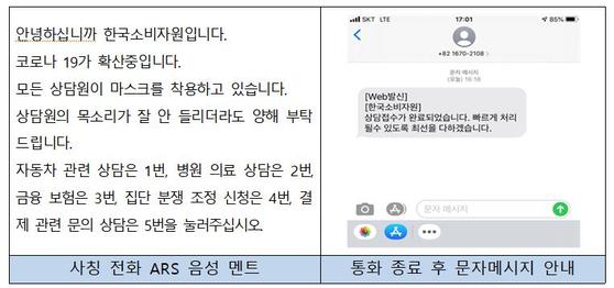 문자메시지 발신번호인 '1670-2108' 및 '02-859-0108'로 전화를 걸면 이와 같은 멘트가 나온다. 자료 한국소비자원