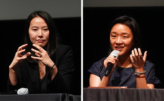 지난 4일 온라인 중계된 '벡델데이 2020' 행사에는 성평등한 한국영화 10편 '벡델초이스 10'에 꼽힌 '벌새' 김보라 감독(왼쪽부터)과 '우리집' 윤가은 감독이 참석했다. [사진 한국영화감독조합]
