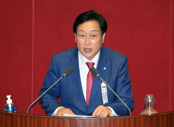 김선교 국민의힘 의원이 지난달 4일 오후 국회 본회의에서 5분 자유발언을 하고 있다. 연합뉴스