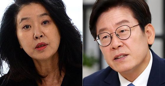 배우 김부선(왼쪽)과 이재명 경기지사. 뉴스1