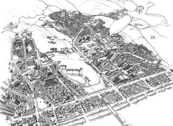 안충기 작가의 2020년작 '비행산수-서울물길 종묘일대'. 가로 76cm 세로 55.5cm 크기로, 종이에 먹펜 피그먼트펜을 사용했다. [그림 안충기 작가]