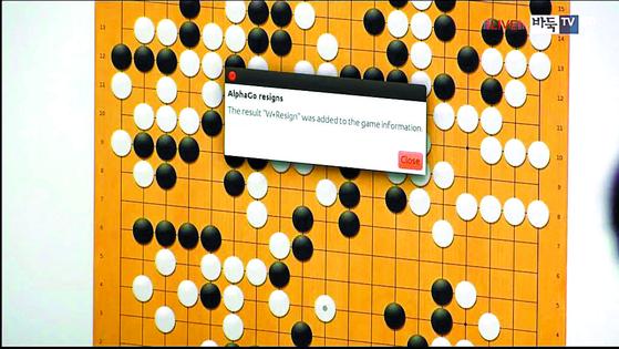 """2016년 3월 인공지능 '알파고'와 이세돌 9단과의 4국에서 '알파고'가 컴퓨터 스크린에 띄운 팝업창. 알파고를 대신해 돌을 놓던 아자 황 아마 6단은 이를 보고 돌을 던졌다. """"'W Resign(백 불계승)'이라는 결과가 게임 정보에 추가됐다""""는 의미다. [바둑TV 제공]"""
