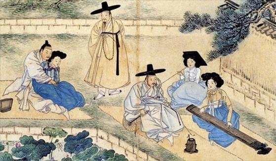 연못가에서 벌어진 양반의 놀이를 다룬 신윤복의 '연당야유' [자료 간송미술관]