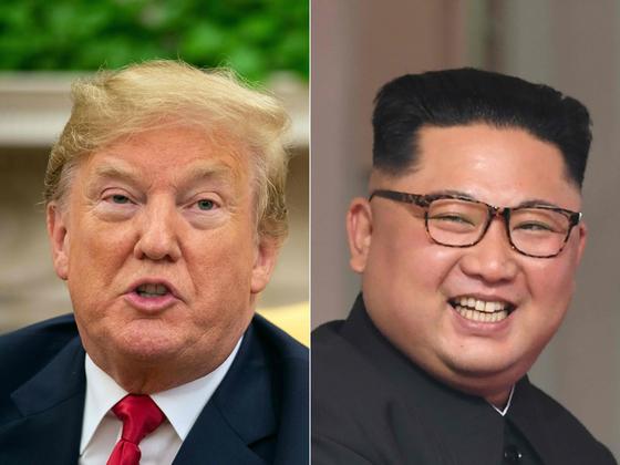 도널드 트럼프 미국 대통령과 김정은 북한 국무위원장. 트럼프 대통령은 탐사전문기자 밥 우드워드의 신간 '격노'에서 대북 외교 비사를 공개했다. [AFP=연합뉴스]
