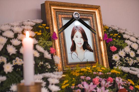 배우 오인혜의 빈소가 지난15일 오전 인천 중구 인하대학교부속병원 장례식장에 마련됐다. 연합뉴스.