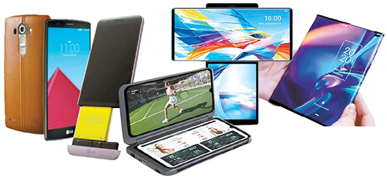 왼쪽부터 LG전자가 최초로 후면 커버에 천연가죽 소재를 적용한 G4, 트랜스포머폰 G5, 듀얼스크린폰 V50S 씽큐, LG 윙, 롤러블폰 예상 이미지. [사진 LG전자·가젯매치, 연합뉴스]