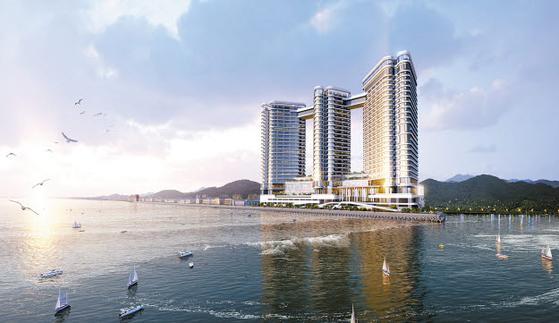 세계적인 명성의 호텔&리조트 체인인 반얀트리 그룹이 위탁운영을 맡은 카시아 속초 투시도. 분양 계약자는 운영부담은 최소화하면서 안정적인 임대수익을 기대할 수 있다.