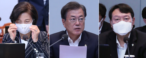 문재인 대통령(가운데)와 추미애 법무부 장관(왼쪽), 윤석열 검찰총장. 연합뉴스