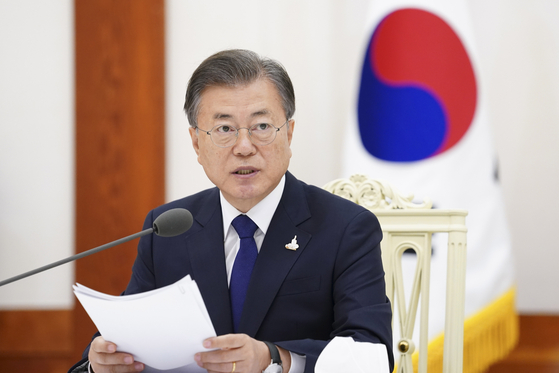 문재인 대통령이 18일 오전 청와대에서 열린 한국 불교 지도자 초청 간담회에서 발언을 하고 있다. [뉴스1]
