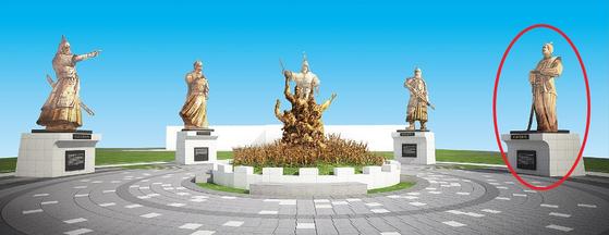 전남 순천시가 추진하는 '한·중·일 평화정원' 조감도에 나온 임진왜란 일본장수 고니시 유키나의 동상(빨간 원). [사진 순천시]