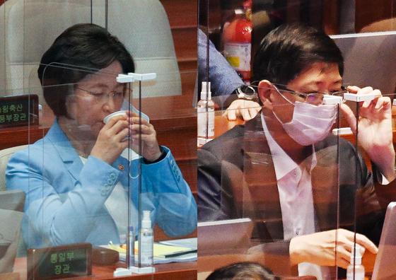 추미애 법무부 장관(왼쪽)과 더불어민주당에서 18일 제명된 김홍걸 의원. 연합뉴스·뉴스1