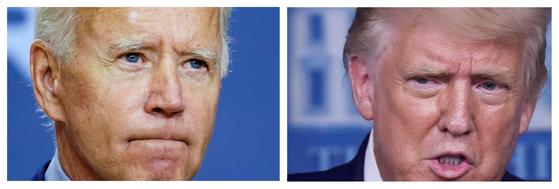 조 바이든 미국 민주당 대선후보(왼쪽)와 도널드 트럼프 미국 대통령(오른쪽). 로이터통신=연합뉴스