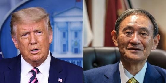 도널드 트럼프 (왼쪽) 미국 대통령과 스가 요시히데 일본 총리가 20일 밤 첫 전화회담을 가졌다. [AFP=연합뉴스]