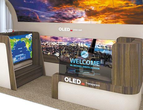 LG디스플레이는 OLED의 강점을 극대화한 제품을 계속 선보이고 있다. 지난 1월 열린 CES 2020에서는 OLED 제품이 적용된 차원이 다른 항공기 공간을 선보였다. [사진 LG디스플레이]
