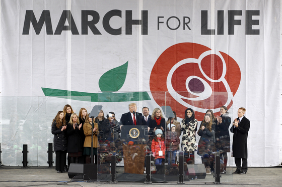 지난 1월 낙태를 반대하는 모임에 참석한 도널드 트럼프 대통령. [AP=연합뉴스]