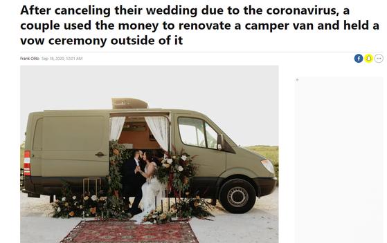 신종 코로나바이러스 확산으로 준비했던 결혼식을 취소한 나탈리와 셔빈 에스파니 부부는 남은 결혼자금으로 밴을 구입한 뒤 '스몰 웨딩'을 했다. [인사이더 캡처]