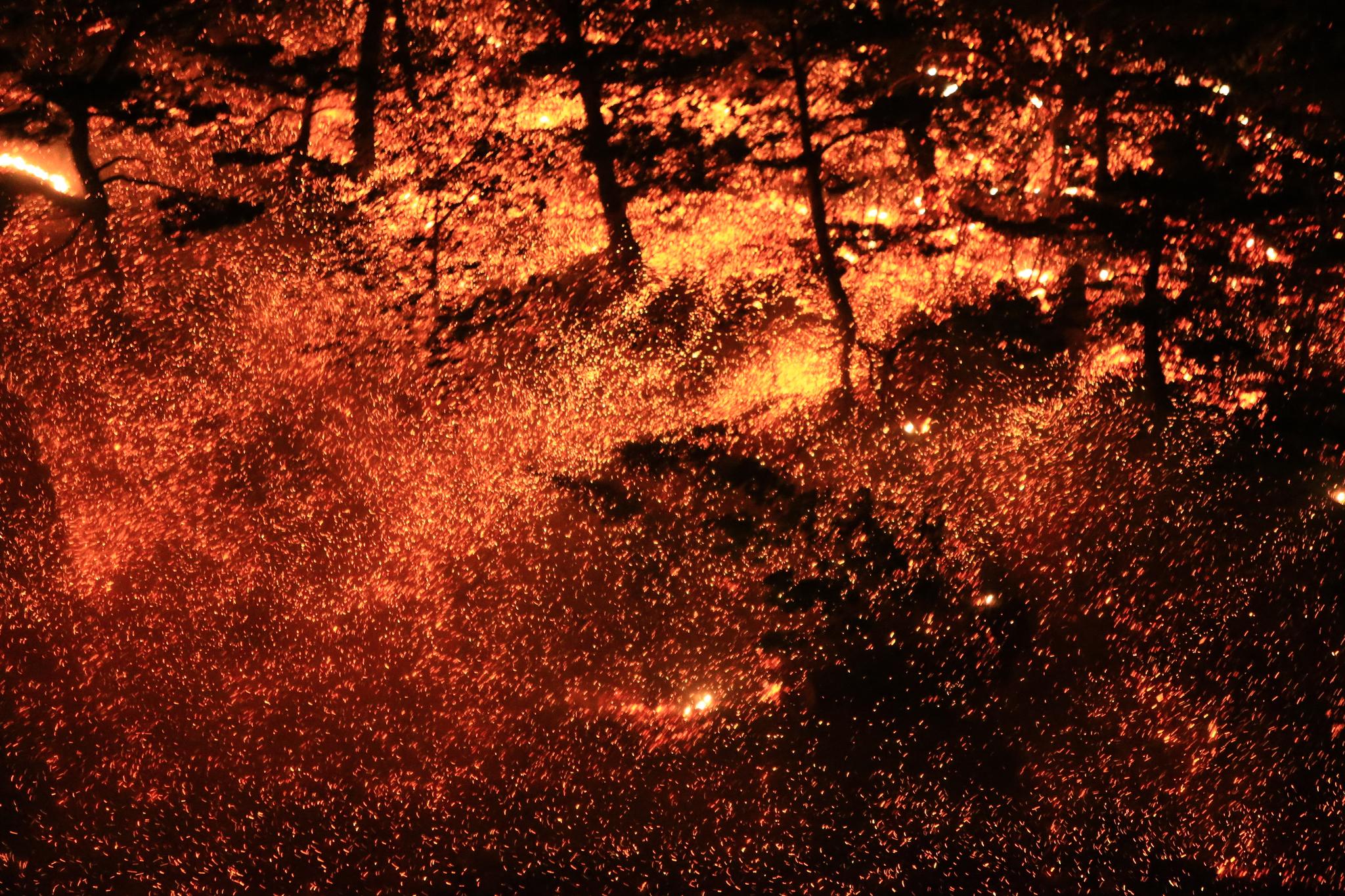 지난 5월 1일 강원 고성군 토성면 도원리에서 발생해 강한 바람을 타고 주변지역으로 번진 산불이 맹렬한 기세로 산림을 집어삼키고 있다. 연합뉴스