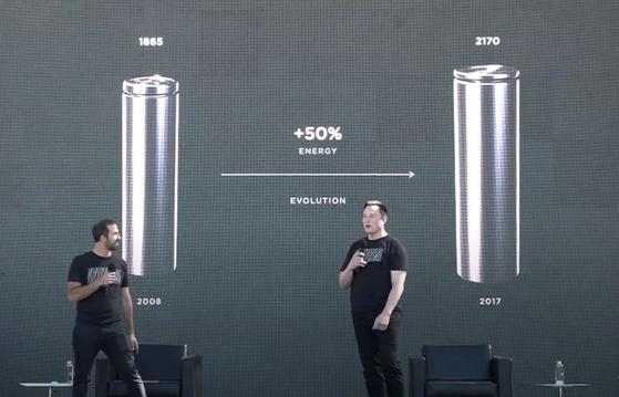 테슬라 배터리데이에 참석한 일론 머스크 CEO가 연단 위에서 발표를 하고 있다. [유튜브 캡처]