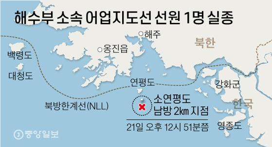 해수부 소속 어업지도선 선원 1명 실종. 그래픽=신재민 기자 shin.jaemin@joongang.co.kr