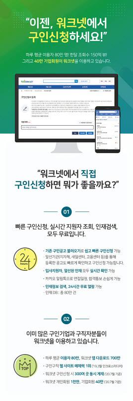 고용노동부와 한국고용정보원이 운영하는 '워크넷'은 기업 인사담당자와 사업주를 위한 구인 서비스를 무료로 제공하고 있다.   [사진 한국고용정보원]