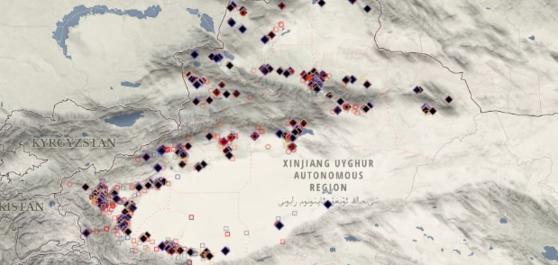 호주전략정책연구소는 위성사진 분석을 통해 2017년부터 현재까지 중국 신장위구르자치구에 380개의 수용 시설이 지어졌다고 밝혔다. [호주전략정책연구소 홈페이지 캡쳐]
