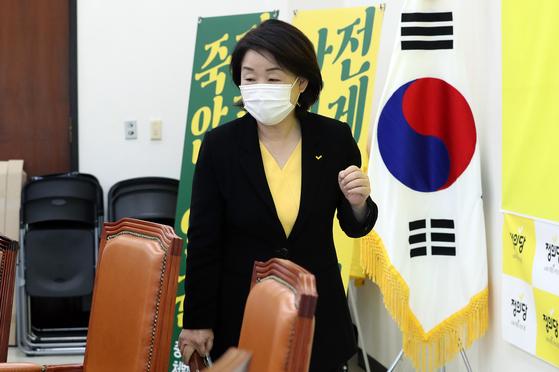 심상정 정의당 대표가 24일 오전 서울 여의도 국회에서 열린 퇴임 기자회견에 참석하고 있다.  정의당은 27일 제6기 전국동시당직선거를 갖고 새로운 당대표를 선출한다. 오종택 기자