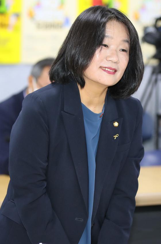 지난 7월14일 오전 노동단체 간담회에 참석한 윤미향 더불어민주당 의원. 연합뉴스
