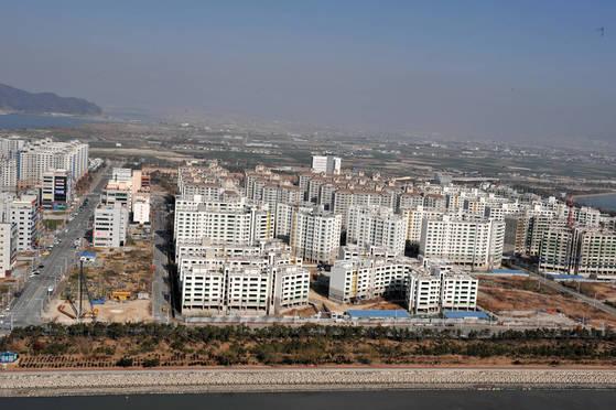 신도시로 개발이 한창이 부산 강서구 명지국제신도시. [사진 부산시]