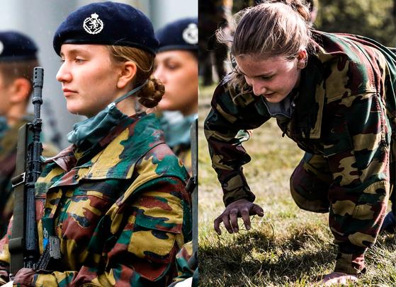 브뤼셀 왕립육군사관학교에 입소했던 벨기에 엘리자베스(18) 공주가 4주간의 기초 군사훈련을 마치고 25일(현지시간) 드디어 '블루 베레모'(왼쪽사진)를 썼다. 로이터·AFP=연합뉴스