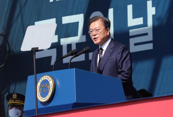 문재인 대통령이 25일 오전 경기 이천 육군 특수전사령부에서 열린 국군의 날 기념식에서 기념사를 하고 있다. 2020.9.25. 청와대사진기자단