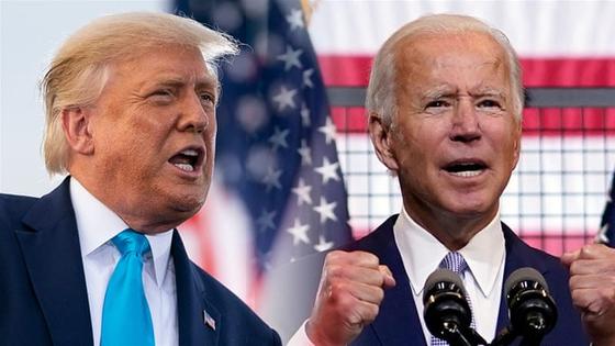 2020년 11월 미국 대선의 두 주인공인 도널드 트럼프 미국 대통령과 민주당 조 바이든 후보(왼쪽). [AP=연합뉴스]