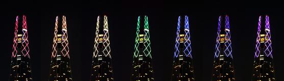 롯데월드타워가 빨주노초파남보 무지개 색깔을 건물 외벽에 밝혀 희망의 메시지를 전한다. 사진 롯데물산