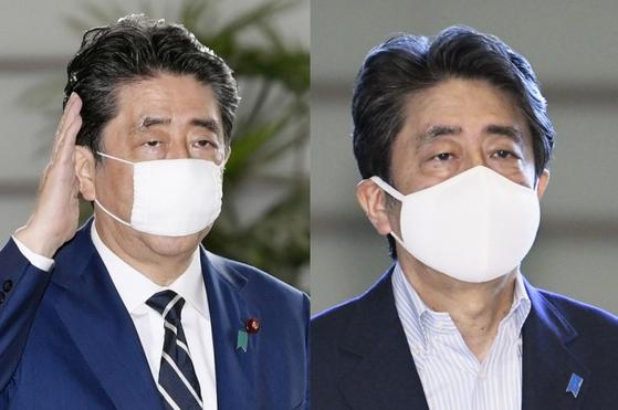 아베 신조 총리가 지난 4월부터 착용해온 '아베노마스크'(왼쪽)를 벗고 1일 큰 사이즈의 천 마스크를 착용한 채 총리 관저로 들어가고 있다. [연합뉴스]