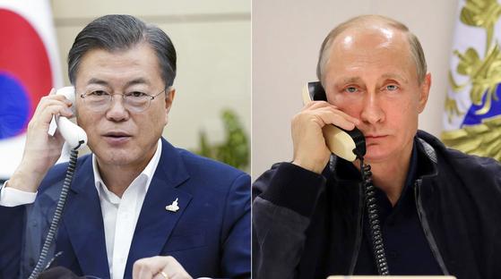 문재인 대통령이 28일 오후 청와대에서 블라디미르 푸틴 러시아 대통령과 통화하고 있다. [청와대 제공]